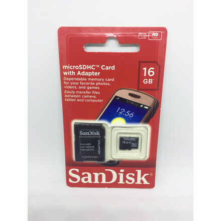 Карта пам'яті SanDisk Micro SD+adapter 16GB class-10